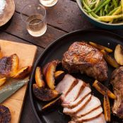 Pork: Grilled Pork Chops and Peaches with Pole Bean