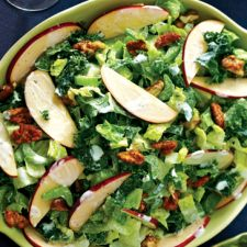 Creamy Kale, Apple Salad with Spiced Nuts