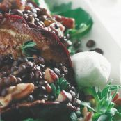 Balsamic Eggplant with Lentils and Goat Cheese