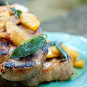 Pork steak with sautéed apples