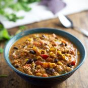 Slow Cooker Chicken Chili with Roasted Corn and Jalapeño