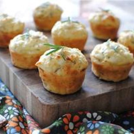 Savory Mini Muffins with Goat Cheese, Red Onion & Rosemary