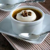 Pumpkin Pots de Creme topped with Caramel Whipped Cream
