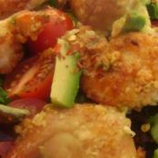 Almond-Crusted Shrimp over Mixed Greens with Lime Dressing