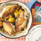 Roast Chicken with Caramelized Lemons, Cherry Tomatoes & Olives