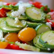 Raw Summer Squash Salad with Feta & Tomatoes