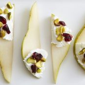 Pears with Cranberries, Pistachio & Goat Cheese