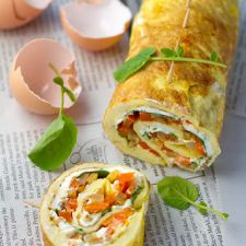 Omelet Rollups or Roulade with Smoky Fried Potatoes, Cream Cheese, & Watercress
