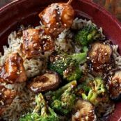 Hoisin Chicken Skewers with Broccoli and Mushrooms