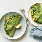 Spinach-Curry Crepes with Apple, Raisins, & Chickpeas