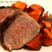 Cuban Roasted Pork Tenderloin with Roasted Sweet Potatoes