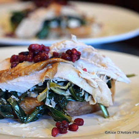 Bacon Dripping Dandelions with Roasted Chicken Pomegranate & Asiago