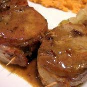 Bacon Wrapped Pork Medallions with Apple Cider Sauce