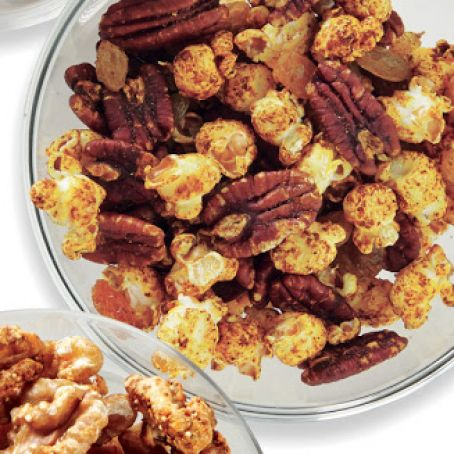 Spiced Popcorn with Pecans & Raisins