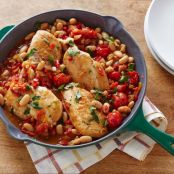 One-Pot Pan Seared Chicken Breasts with Cherry Tomatoes and White Beans