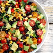 Cucumber, Black Bean, Avocado, Corn & Tomato Salad