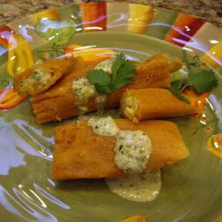 Easy Cheese and Corn Tamales with Poblano Cream