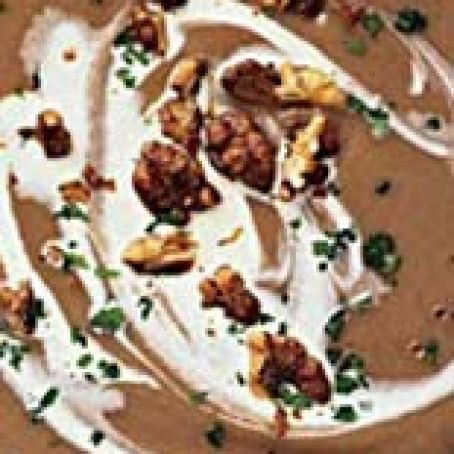 Creamy Chestnut Soup with Candied Walnuts