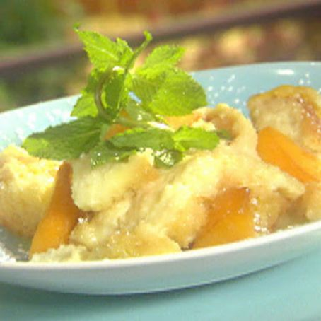 Peaches and cream bread pudding