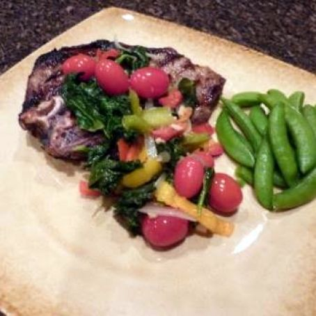 Steak with Kale and Pepper Saute