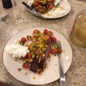 Dry Rubbed Flank Steak with Grilled Corn Salsa