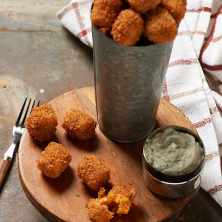 Sweet Potato Tots with Cilantro-Lime Sauce