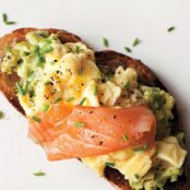Scrambled Eggs, Avocado & Smoked Salmon on Toast