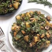 Rosemary Roasted Potato Mushroom and Lentil Kale Salad