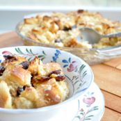Maple banana Challah bread pudding