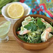Shrimp in Green Sauce over Zucchini Noodles