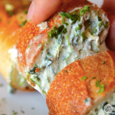 Spinach & Artichoke Dip Stuffed Garlic Bread