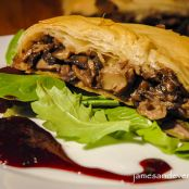 Mushroom Strudel with Berry Coulis