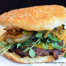 Ottoman Empire Burger with Roasted Red Pepper Sauce & Mint Grilled Onions