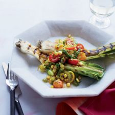 Grilled Leeks with Leek-Tomato Salad and Citrus Dressing