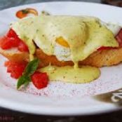 Eggs Benedict with Smoked Shrimp, Tomato and Basil