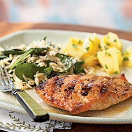 Salmon: Grilled with Apricot Mustard Glaze