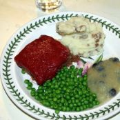 Meatloaf with Mashed Potatoes, Peas and Blueberry Applesauce