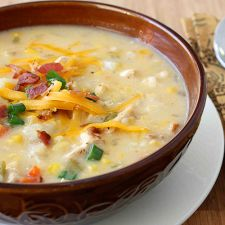 Chicken Corn and Potato Chowder Recipe with Green Chiles and Cheddar Cheese