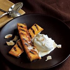 Rum Spiked Grilled Pineapple with Toasted Coconut