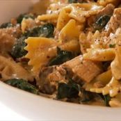 Penne with tofu, porcini mushroom and swiss chard