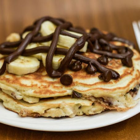Nutella-Filled Chocolate Chip Banana Pancakes