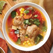 Tortilla Soup with Chorizo & Turkey Meatballs