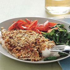 Fish- Nut Crusted Tilapia with Spinach and Roasted Carrots