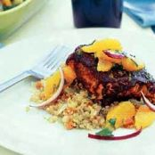 Chile Glazed Salmon with Orange Salsa