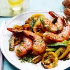 SHRIMP WITH CHARRED LEMON AND ZUCCHINI