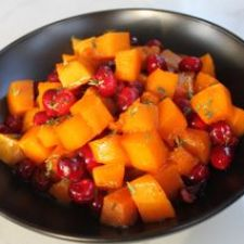 Roasted Butternut Squash with onions and cranberries