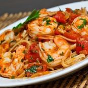 Shrimp Linguine In A Tomato & White Wine Sauce