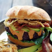Western Bacon Burgers with BBQ Mayo and Crispy Onion Straws
