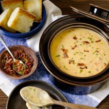Creamy Cheddar Cheese Soup with Crispy Bacon & Chives