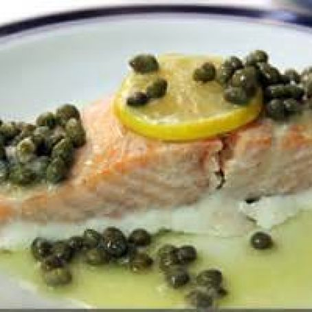 Roasted Salmon with Lemon-Caper Butter Sauce